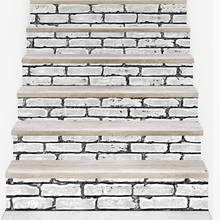 2017 New 6 Pieces/Set 3D DIY Stairs Stickers Tile Black and White Brick Pattern for Room DIY Decoration Home Floor Wall Picture(China)