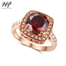 Hot Luxury Rose Gold Color Round AAA Red Crystal Ring Fashion Engagement Jewelry For Women Wholesale R322