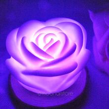 Home Decoration Decor Romantic 7 Color Changing Rose Flower Night Light LED Bulb Party Nightlight Multicolor Colorful Veilleuse