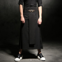 Adjustable Waist Men's Casual Skirt Pant Punk Hip-hop Avant Garde Male Fashion Show Trousers Nightclub Costumes Stylist Clothing