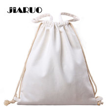 White Solid Canvas Backpack Women Top-handle Shoulder Tote Bag High Quality Drawstring Bagpack Travelling Sackpack