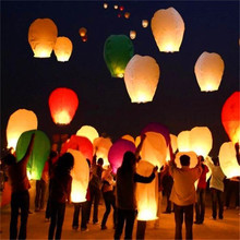 10Pieces multicolor Paper Chinese wishing lantern Many colors hot air balloon Fire Sky lantern for Birthday Wedding Party color(China)