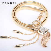 IFENDEI Women's Belts Hot Fox Gold Belt Chain Elastic Stretch Metal Strap Silver Adjustable Luxury Chain Ceinture Waist Dress(China)