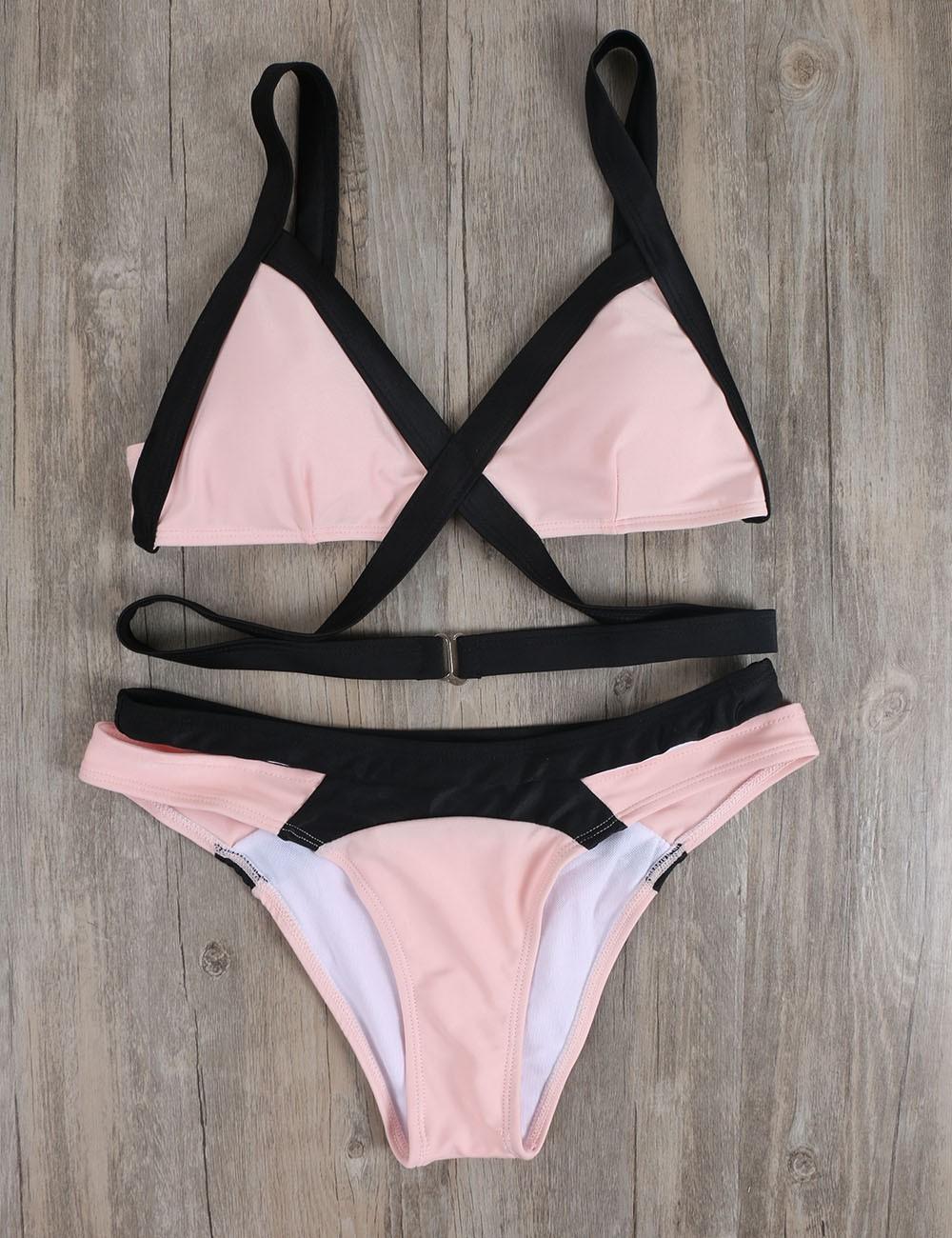 Summer Pink Plus Size Bikini Set Swimwear Women Push Up Bikinis 18 Bathing Suit Sexy Cut Out Beach Wear Cross Swimsuit Biquin 4