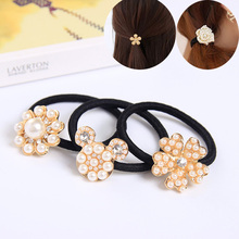 Buy 5 piece/lot Crystal Imitation Pearl Flower Elastic Hair Bands Women Girl Elegant Hair Accessories Simulated Pearl Jewelry for $3.06 in AliExpress store