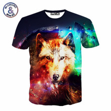 Fashion men/women 3d tshirt print wolf space/galaxy t-shirt Summer Hiphop t shirt men's short sleeve casual tees tops(China)