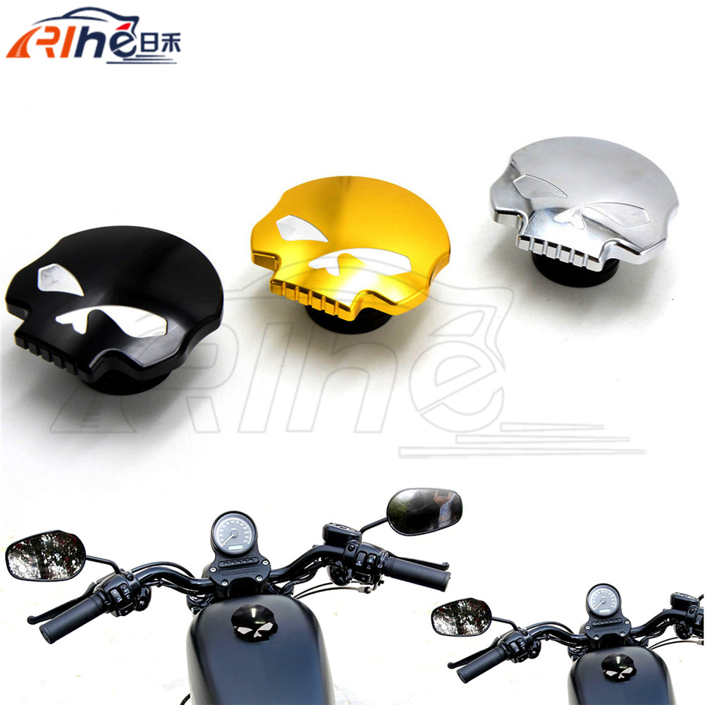New Arrival Motorcycle Accessories Skull Fuel Gas Tank Cap Cover 3 Colors For Harley Sportster Dyna Softail FXD FL XL FLT<br><br>Aliexpress