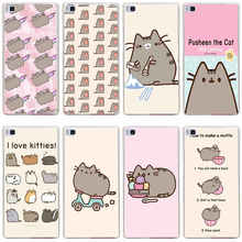 302GH Pusheen Cat Hard Transparent Cover for Huawei P7 P8 P8 P9 Lite Honor 4C 5C 6 7 8 Nova