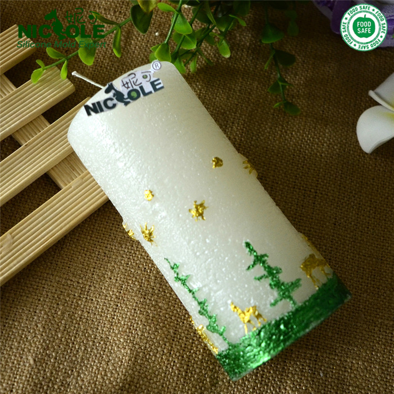 Nicole Silicone Candle Mold Big Size Trees and Deer Relief Cylindrical Christmas Mould Craft Handmade Soap Tool(China (Mainland))