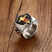 Mprainbow Vintage Mens Rings Stainless Steel Royal Fleur De Lis Triple Shield Ring Men Shield Wide anel masculino Bike Jewelry(China)