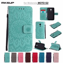 Fashion Luxury Embossed Sunflowers PU Leather Wallet Flip Cover For Motorola MOTO G2 Phone Case Funda For Moto G2 XT1068 XT1069