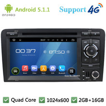 "Quad Core 7"" 1024*600 Android 5.1.1 Car Multimedia DVD Player Radio Stereo With 3G/4G WIFI BT GPS Map USB For Audi A3 2003-2013"
