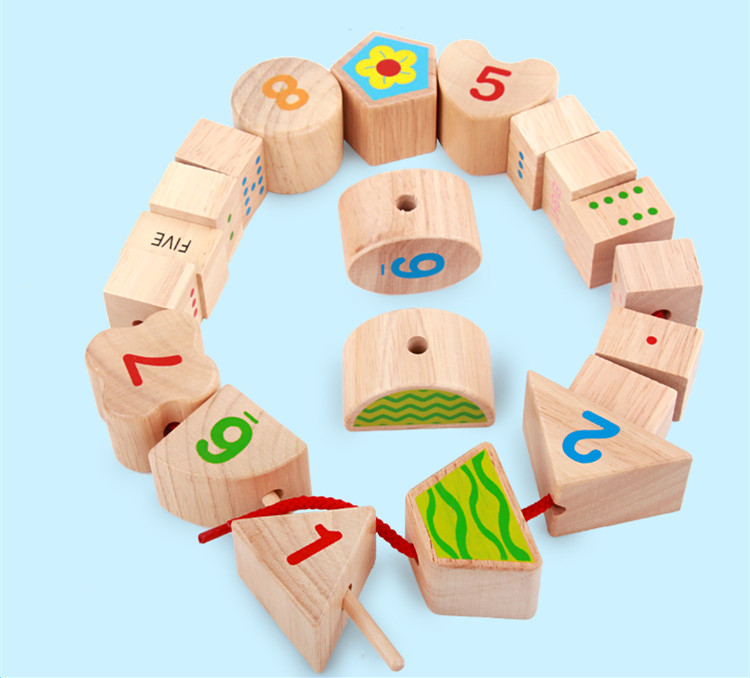 Baby Toys Number Recognition String Rope Building Blocks Threading Beads Wooden Toys Child Educational Geometry Beads Toys Gift<br><br>Aliexpress
