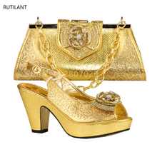 Hot Selling Shoes and Bag Gold Color Italian Shoes with Matching Bags African Shoes and Matching Bag Wedding Shoes and Bag Sets