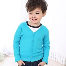 Fashion Tiny Cottons Cardigan Boys Solid V-neck Spring Clothing Wear 2-8Y Sweaters Baby Cardigan Girl Boys AS-1630-1