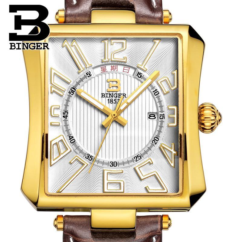 Switzerland BINGER mens watch luxury brand Tonneau Quartz waterproof leather strap Wristwatches B3038-4<br>