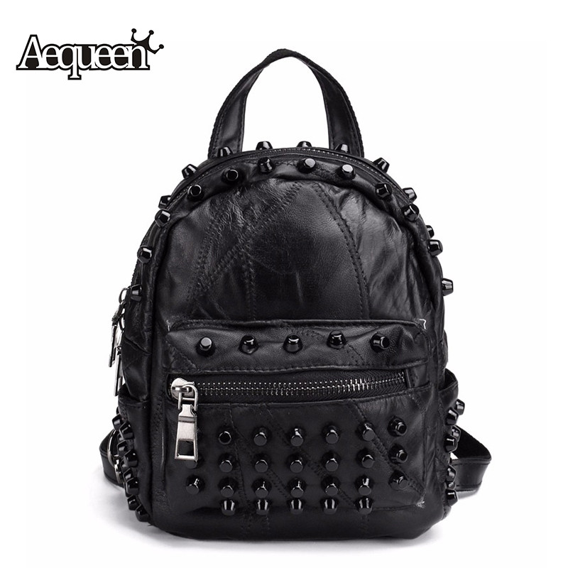 AEQUEEN Rivet Vintage Leather Backpack Women Mini Rucksack Brand Design Student School Bags Packsack Zipper<br><br>Aliexpress