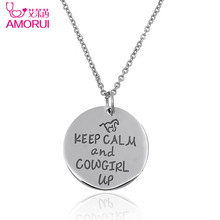 "Silver No Fade Cowgirl Horse Bijoux Lover Horse Necklace Women Jewelry ""KEEP CALM and COWGIRL UP"" Disc Chain Necklaces Mujer"