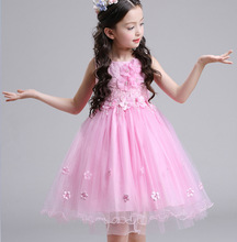 Embroidery Flower Girls Beading Dresses Red Princess Dress Lace 2017 New Wedding Party Girl tutu kid dresses Girls Clothes White