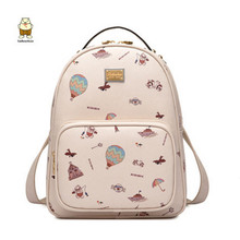 Fashion ladies graffiti backpack high quality leather material korean backpack school bags for teenage girls anime bag mochila