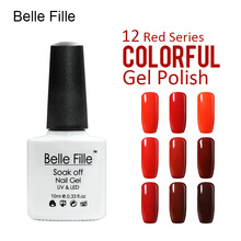 BELLE FILLE Color Gel Polish Nail Gel Polish Rose Red Series Wine Red UV Gel Varnish fingernail polish vernis semi permanent(China)