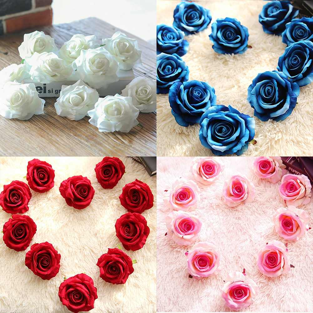 1Pcs White/Red/Blue/Light Pink Rose Flower Wall Wedding Flowers Living Room  Decoration Silk Flower DIY Flower Decoration