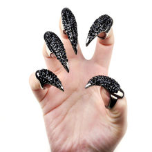 Cheap Hot Punk Cool 3 size Rock Eagle Claw Crystal Rhinestones Finger Nail Hook Ring Novelty Women jewelry Halloween accessories(China)