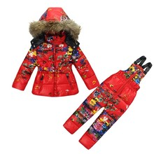 Fashion Winter Girl's clothing sets baby Girl Ski suit set sport baby children's Jumpsuits -30degree fur Jackets/coats+trousers