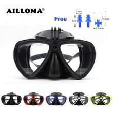 AILLOMA Scuba Underwater Anti Fog Camera Mount Stand Diving Masks Anti-skid Tempered Glass Silicone PVC Swimming Masks Goggles(China)