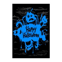 Decorative Outdoor And Indoor Flags Happy Halloween With Blue Monsters Designed With Double Sided Printing Banner