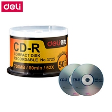 Deli 50PCS/LOT Deli 3725 CD-R Blank discs recordable compact disc 700MB/80min/52x CD-R BLANK Discs(China)