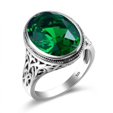 Tibetan Turquoise Ring Wedding Invitations Simulated Emerald 925 Sterling Silver Rings for Women Men Vintage Dress Jewellery