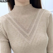 NIJIUDING fashion winter women turtleneck long-sleeve knitted sweater female knitted pullover solid basic warm women clothing