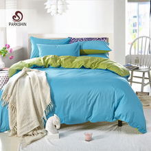 ParkShin Plain Double Bedding Set Solid Color Sky Blue And Green Duvet Cover Set Soft Cotton Flat Sheet 3Pcs or 4Pcs(China)