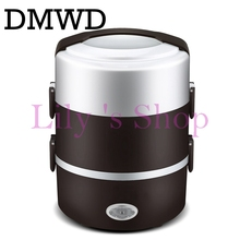 2L Portable electric insulation heating lunch box Electric Rice Cooker Stainless Steel 3 Layers Steamer Picnic Food Container(China)