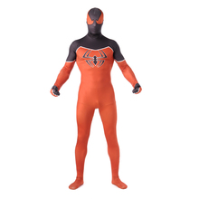 2017 Halloween and Party adults  Orange Black Spider man cosplay costume Lycra Spandex Zentai Spider in Chest Cool Cold Zentai