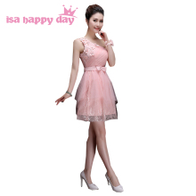 teen one shoulder dusty pink short tulle party bridesmaid beautiful bridemaids dresses bandage dress for weddings H3382