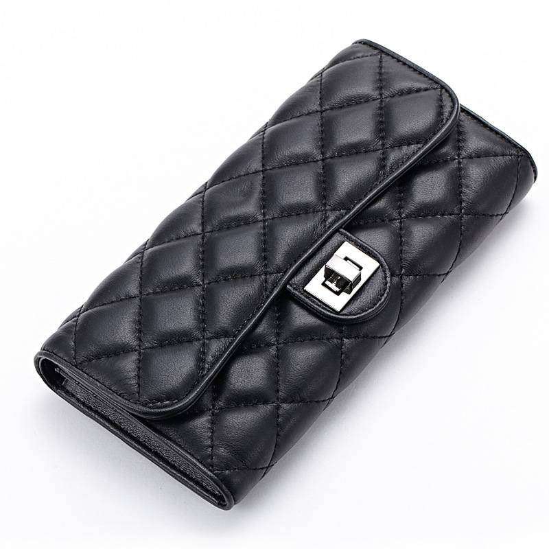 Brand Ladies Sheepskin Leather 3 Fold Long Quilted Wallets European and American Style Bags Lock Genuine Leather Clutch Black<br>
