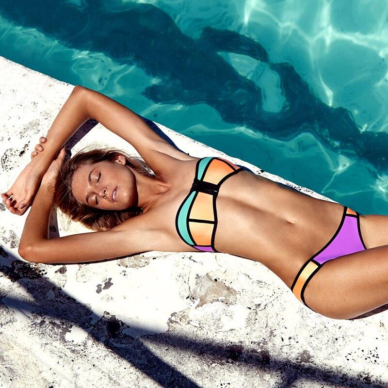 2017 Neoprene Bikini Set Sexy Zipper Swimwear Women Push Up Swimsuit Brazilian Biquini Female Plus Size Bathing Suit<br><br>Aliexpress