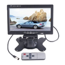 "7"" TFT LCD 2 Video Input Color Car Monitor 7 RearView Headrest DVD VCR Monitor for Backup Rearview Camera With IR Remote Control(China)"
