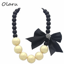 Olaru Jewelry Accessories Nice Big Imitation Pearl Bow Beads Choker Neckalce Simple Collar Statement Necklaces Good Quality Gift(China)