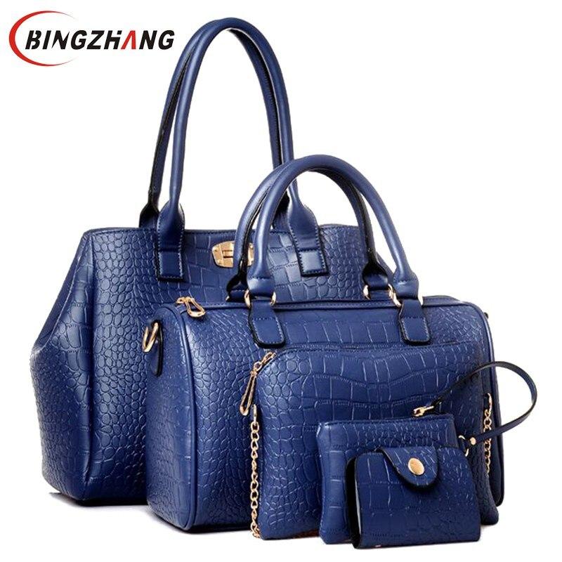 2018 hot sale women messenger bags female PU leather handbags purse 5 sets Crocodile women shoulder bag ladies L4-1980<br>