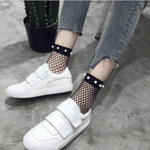 2017 New Fashion Black Fishnets Women Socks Sexy Pearl or Black Butterfly Decorative Socks for Girl Summer wear female sox