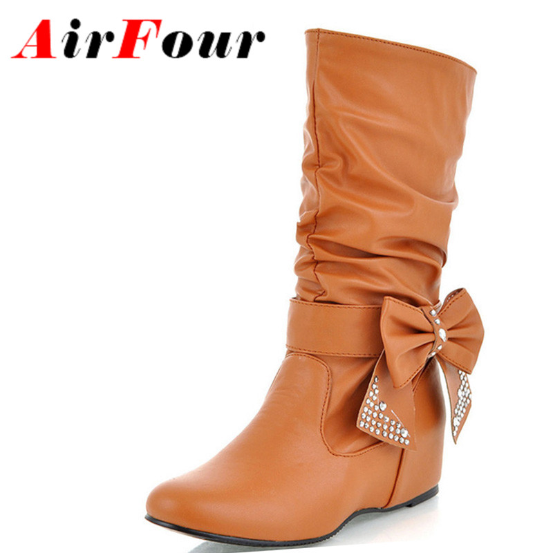 Airfour New Women Spring and Autumn Bowtie Charms Flats Boots Shoes Woman Mid-calf 4 Colors White Shoes Boots Large Size 34-47<br><br>Aliexpress