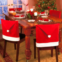 2017 Santa Claus Cap Chair Cover Christmas Dinner Table Party Red Hat Chair Back Covers Xmas Christmas Decorations for Home 1pcs(China)