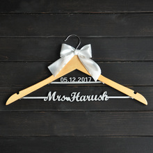 Custom Wedding Hanger with bowknot, Two Line Name Hanger, Personalized Bridal Hanger, Bridesmaids Name(China)