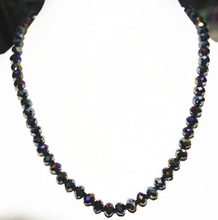 LL<<< Hot natural 5X8 mm Colorful black crystal Faceted Jewel Necklace