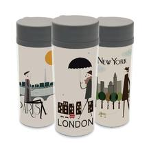 Plastic Insulated London New York Paris Kids Water Bottle 300ml Gift BPA Free With Lid Modern Personalized City Travel Drinkware