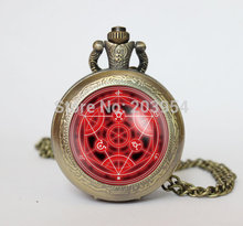 Movie cartoon Full Metal Alchemist Fullmetal Alchemist Transmutation circle pocket watches 12pcs/lot locket necklace vintage men