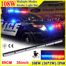 108W Super Bright Led Strobe Flash Warning Light Bar 35'' Led Light Bar 4x4 Offroad Flashlight Amber Red Blue Led Police Lights(China)